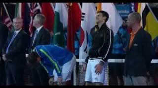 Novak Djokovic starts to laugh at awkwardly long speech