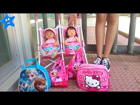 Vuelta al cole! Estrenan mochila y bolsa de aseo Frozen y Hello Kitty Ani y Ona NENUCO