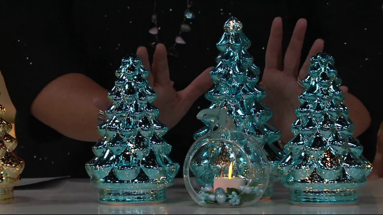 set of 3 illuminated mercury glass graduated christmas trees on qvc - Mercury Glass Christmas Decorations