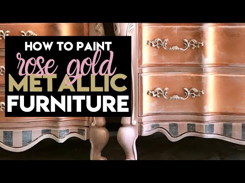 Rose Gold Leafing on Furniture + Blush Dresesr
