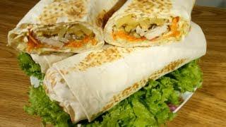 Домашняя шаурма | Рецепт вкусной и сочной шаурмы с курицей |Шаверма