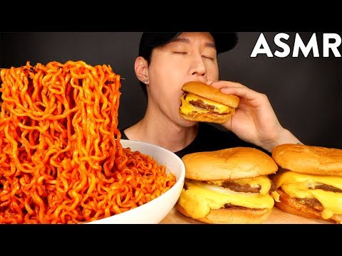 ASMR SPICY FIRE NOODLES & DOUBLE CHEESEBURGER MUKBANG (No Talking) EATING SOUNDS   Zach Choi ASMR