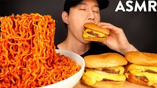 ASMR SPICY FIRE NOODLES &amp DOUBLE CHEESEBURGER MUKBANG (No Talking) EATING SOUNDS  Zach Choi ASMR