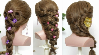 3 easy hairstyles for long hair tutorial. Cute & Quick