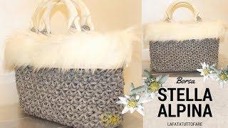 TUTORIAL: Borsa in cordino lanato Stella Alpina/ crochet bag ***lafatatuttofare****