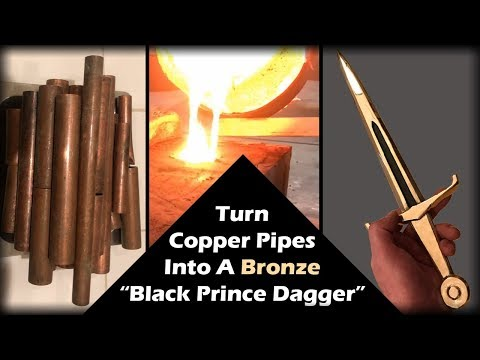 Melting Copper Pipes Into A BRONZE Black Prince Dagger - Casting A Medieval Dagger