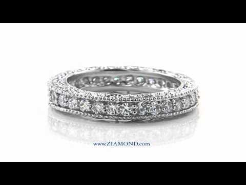 silver ring milgrain cubic sz band cz bands eternity amazon sterling zirconia com dp vintage