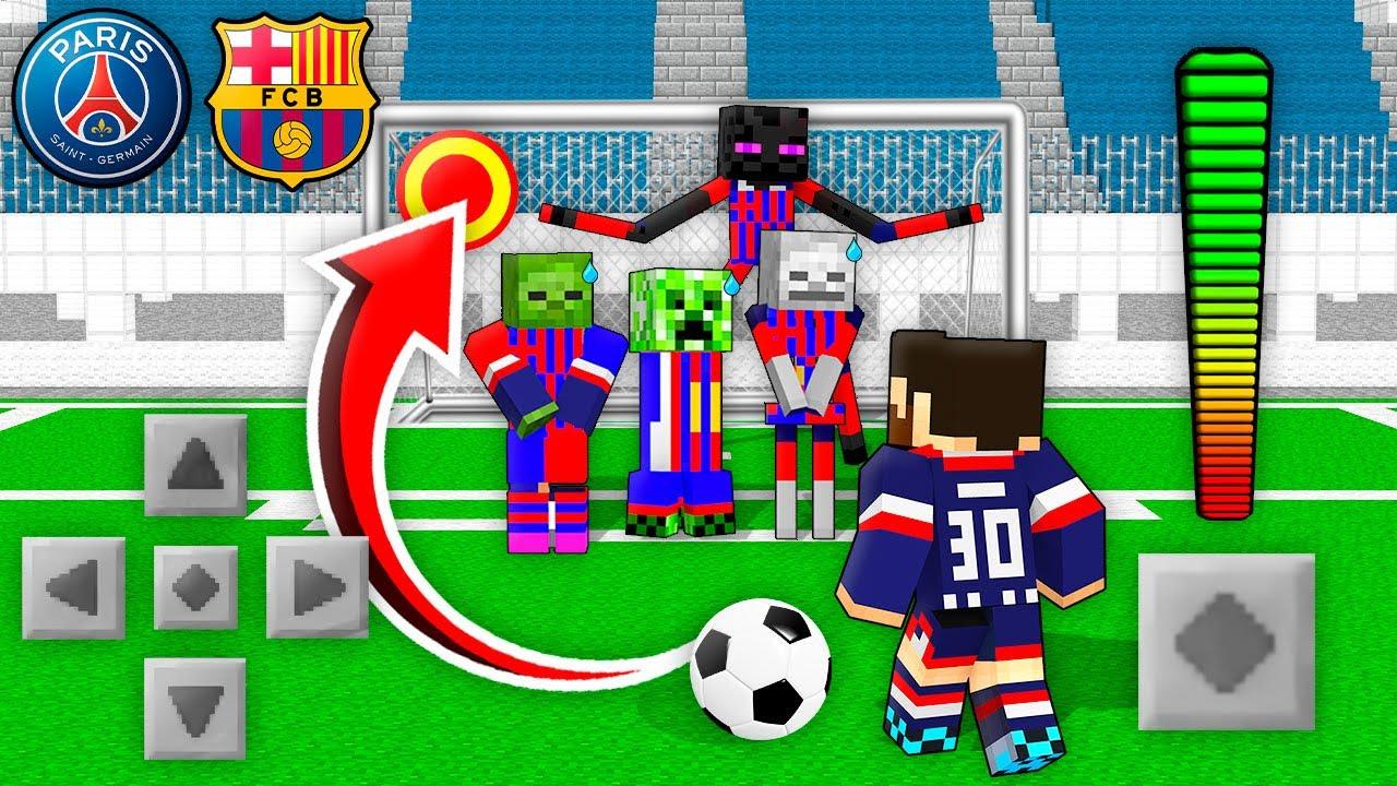 Monster School: MESSI PSG vs Barcelona FootBall Challenge - Minecraft Animation