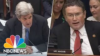 During a House Oversight hearing on April 9, former Secretary of State John Kerry had a heated exchange with Rep. Thomas Massie, R-Kentucky, over his ...
