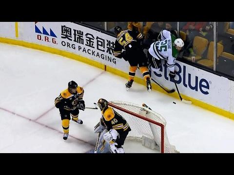 Rask, Krug help guide McQuaid off ice after injury