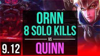 ORNN vs QUINN (TOP) | 4 early solo kills, 8 solo kills | BR Grandmaster | v9.12