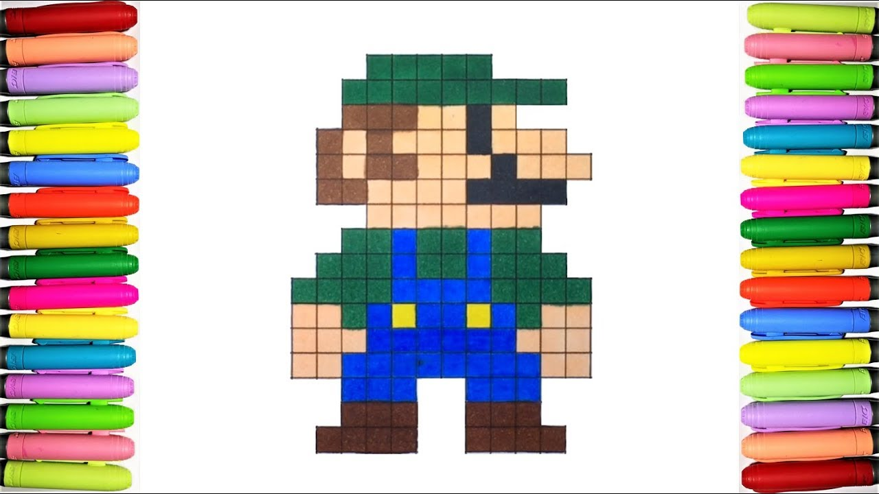 Super Mario Coloring Pages - Luigi 13-bit - YouTube