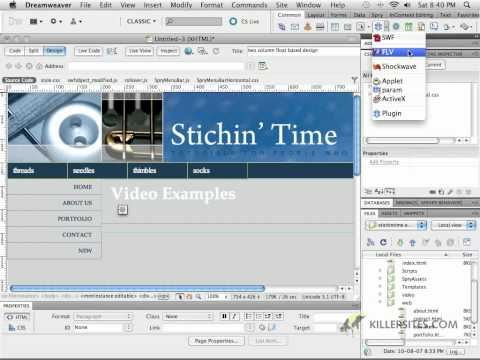 Dreamweaver CS5 - Adding Video