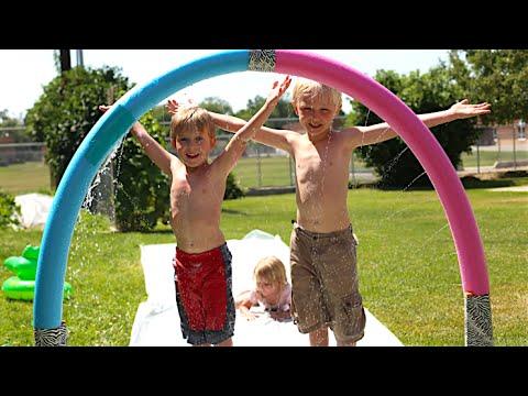 Pool Noodle Slip And Slide Sprayer!