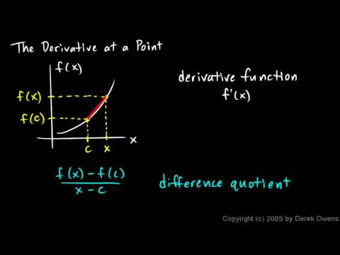 Calculus 3.02a - The Derivative at a Point