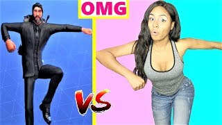 RECREATING FORTNITE DANCES IN REAL LIFE CHALLENGE!