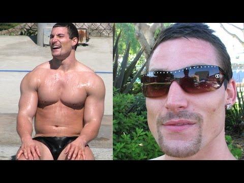 Masssive bbuilder Kevin Falk swimming in West Hollywood