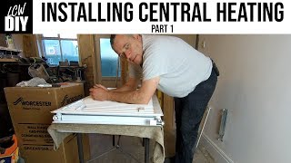 How to Install Central Heating System. part 1 - Hanging the first radiator- DIY Vlog #10
