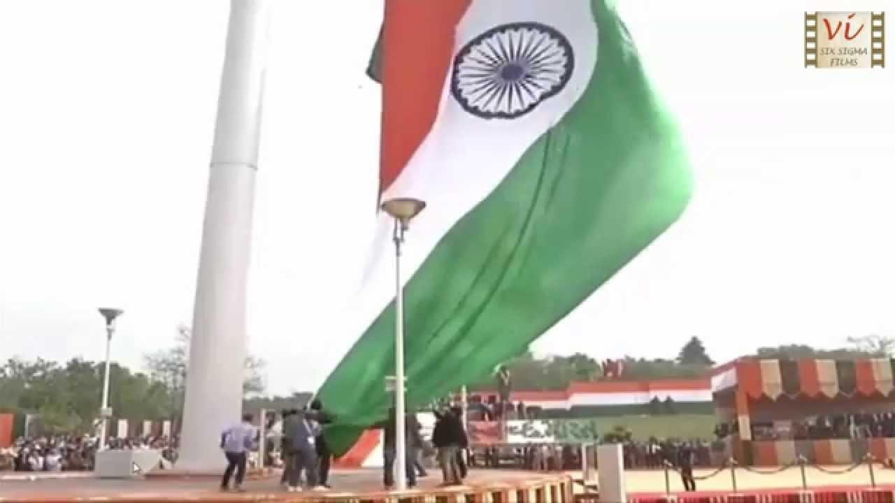 Hoisting of World s Largest Tallest Tiranga Indian National Tricolour