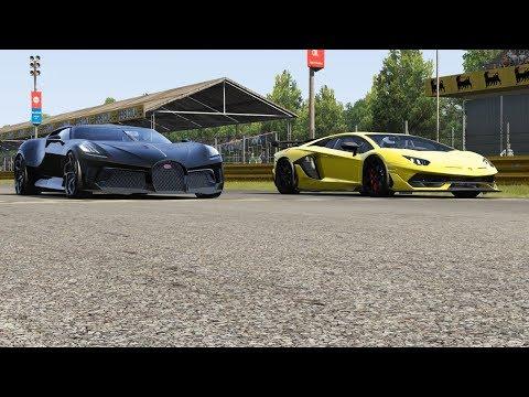 Bugatti La Voiture Noire vs Lamborghini Aventador SVJ at Monza Full Course