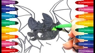 How to draw Toothless from How to train your dragon 3 coloring Как нарисовать Беззубика