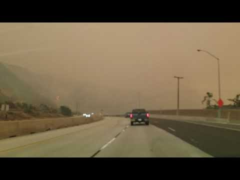 Driving through fire-ravaged 101 freeway