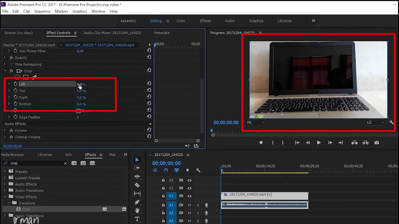 Cara Crop Video Di Adobe Premiere Pro Cc Youtube