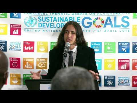 Xiuhtezcatl Roske-Martinez, Earth Guardians speaks at UN Climate Reception - 21 April 2016
