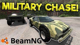 MILITARY POLICE CHASE & CRASHES! - BeamNG Gameplay & Crashes - Cop Chases & Crashes