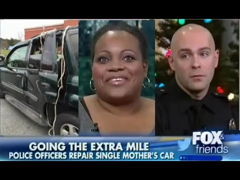 Police Officers Help Repair Single Mother's Car
