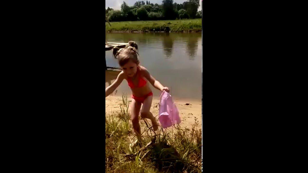 Children swimming in the river lake Дети купаются  в озере реке