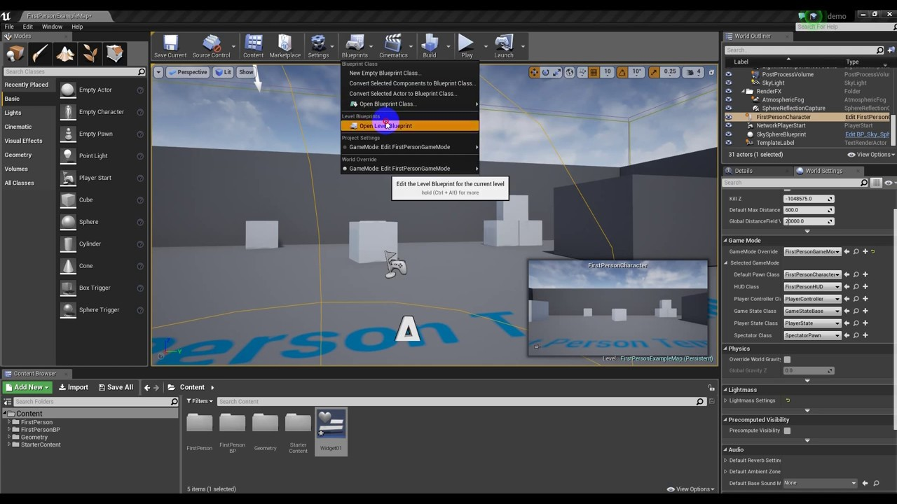 Bluprint Simple UMG/UI Button Functionality in Unreal 4