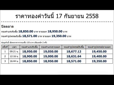 ราคาทองคำวันนี้ 17 กันยายน 2558