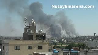 Suriye'deki buğday yangını Nusaybin'den görüntülendi