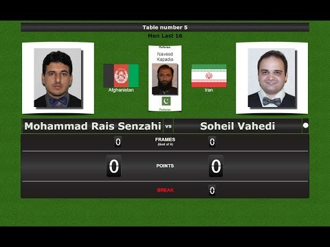 Snooker 6 reds Last 16 : Mohammad Rais Senzahi vs Soheil Vahedi