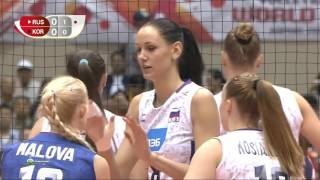 Волейбол  КМ  Жен  6 й тур  Россия Юж Корея  Багга  30 08 2015