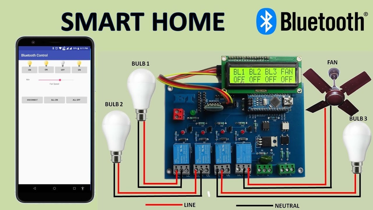 Bluetooth Control FAN Speed And Light From Smartphone by EASY TECH