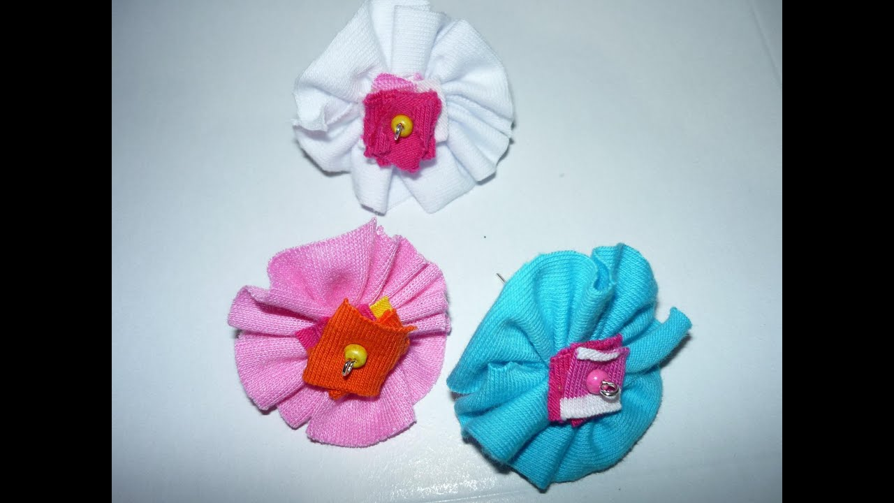 Como hacer flores de tela how to make cloth flower - Manualidades de tela faciles ...