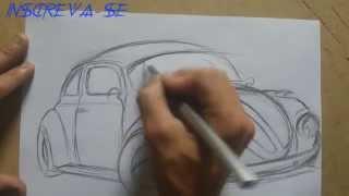 Como desenhar um Carro ( Fusca ) How to draw cars
