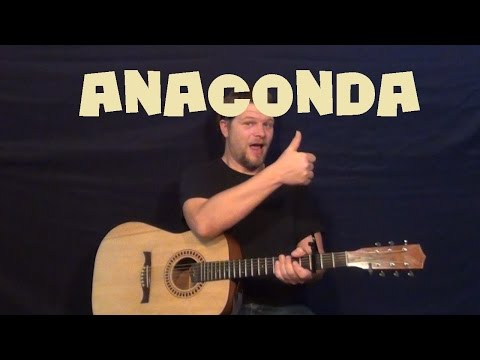 Anaconda (Nicki Minaj) Easy Guitar Lesson How to Play Tutorial