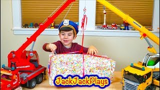 Playing with Bruder Toy Trucks - Unboxing Police Vehicles Surprise Box with Cranes