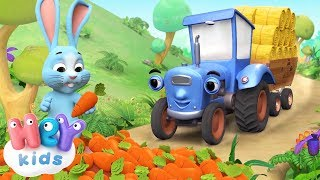 Big Blue Tractor song 🚜 Animals song for kids + karaoke | HeyKids