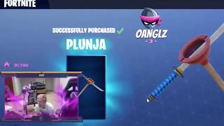Ninja reacting to plunja v2 free v bucks glitch in fortnite