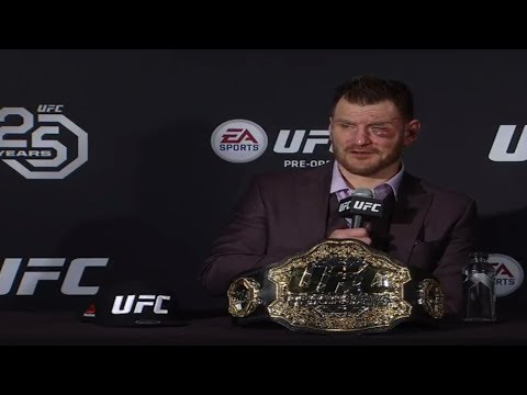 UFC 220 post fight press conference featuring Dana White, Stipe Miocic and Daniel Cormier.