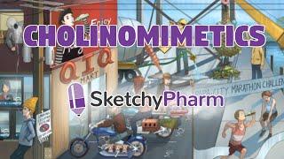 SketchyPharm Cholinomimetics - mnemonic visual learning for medical pharmacology and USMLE Step 1