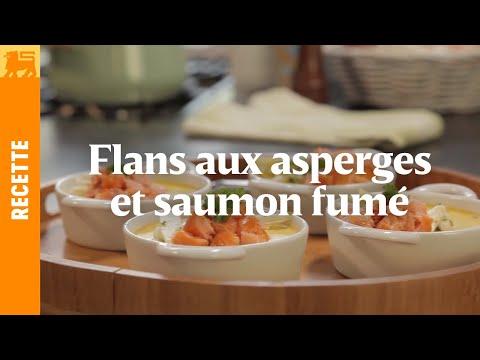 Flans aux aspreges et pavé de saumon fumé