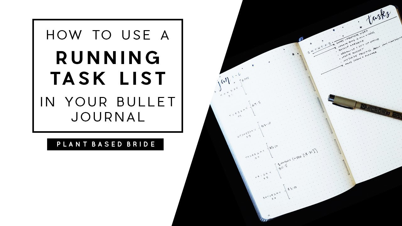 bullet journal weekly layout how to use the running task list