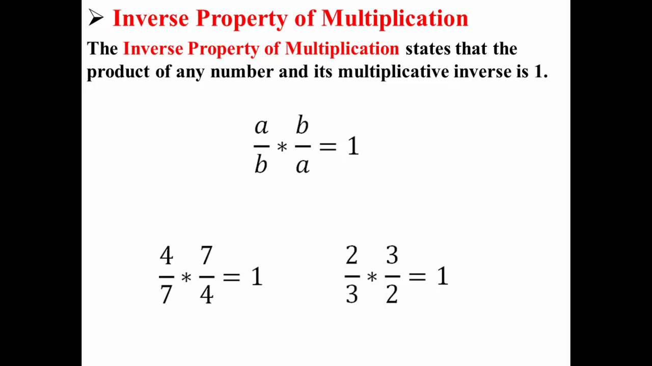 worksheet Property Math Definition inverse property of multiplication youtube