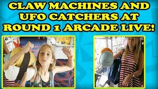UFO CATCHERS AT ROUND 1 ARCADE! Toreba In Real Life! The whole family plays claw machines! TeamCC
