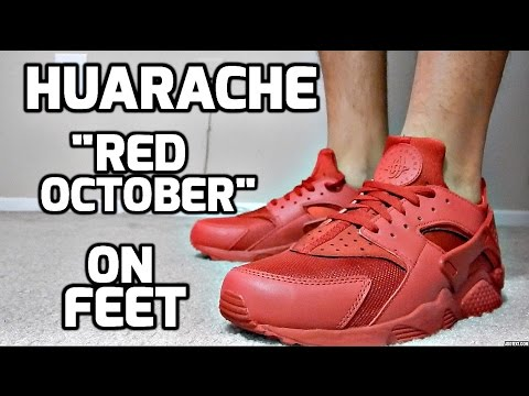 2a246bad0e ... wholesale nike huarache all over red on feet youtube 82707 85ca0